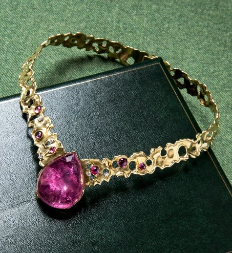John Donald pear-shaped cabochon pink tourmaline, diamond and 18 karat gold nugget flake necklace with melted piercings